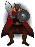 Caped Warrior. Intimidating warrior with sword and shield ready for battle Stock Photography