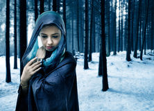 Caped woman in forest. Portrait of a woman wearing a cape and shawl over her head in a forest in winter.  Blue tone color modified Royalty Free Stock Photos