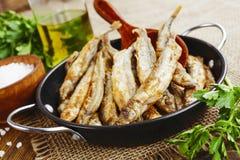 Capelín frito de los pescados Foto de archivo libre de regalías