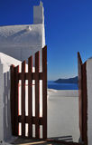 Capela bonito em Santorini, Greece Foto de Stock