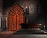 Capela da fantasia com um caixão ilustração do vetor