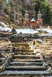 Capela de madeira do russo no Vrsic Passagem-Eslovênia Fotos de Stock Royalty Free