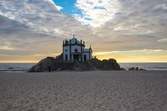 Capela do Senhor da Pedra. On sunset, Porto, Portugal Royalty Free Stock Photography