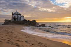 Capela do Senhor da Pedra. On sunset, Porto, Portugal Stock Photography