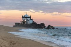 Capela do Senhor da Pedra. On sunset, Porto, Portugal Royalty Free Stock Image