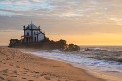 Capela do Senhor da Pedra. On sunset, Porto, Portugal Royalty Free Stock Images