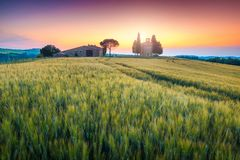 Capela fantástica de Vitaleta no por do sol, perto de Pienza, Toscânia, Itália, Europa fotos de stock