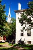 A capela memorável aumenta sobre a jarda de Harvard Fotos de Stock