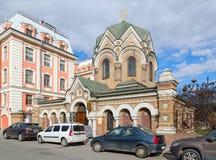 Capela-sacristia do ícone ibérico da mãe do museu do deus da pedra, St Petersburg, Rússia Imagem de Stock