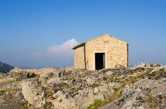 Capela velha no castelo de Angelokastro - Corfu, Grécia Fotografia de Stock