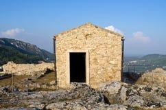 Capela velha no castelo de Angelokastro - Corfu, Grécia Foto de Stock
