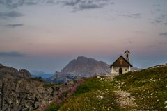 Capella degli Alpini, Dolomites, Italy royalty free stock photo