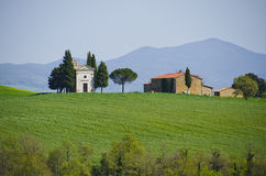 Capella di Vitaleta i Val D ` Orcia, Italien Royaltyfri Fotografi