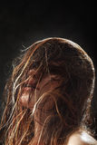 Capelli bagnati lanuginosi Fotografie Stock