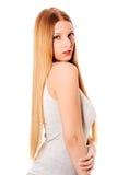 Capelli biondi Bella donna con capelli lunghi diritti Fotografia Stock Libera da Diritti