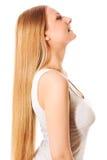 Capelli biondi Bella donna con capelli lunghi diritti Fotografia Stock