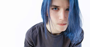Capelli blu, occhi azzurri Immagine Stock
