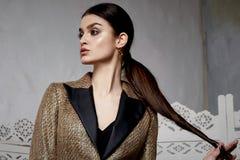 Capelli castana Marocco arabo orientale della bella donna sexy Immagini Stock