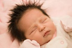 capelli del bambino di sonno Fotografia Stock Libera da Diritti