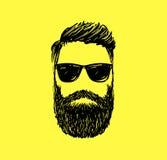 Capelli dell'uomo di modo dei pantaloni a vita bassa e barbe, illustrazione disegnata a mano di vettore Fotografia Stock