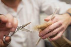 Capelli della guarnizione del parrucchiere Immagini Stock Libere da Diritti