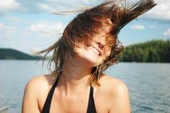 Capelli e vento Fotografia Stock Libera da Diritti