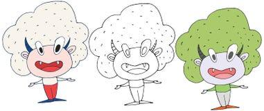 Capelli felici dell'insieme di colore di tiraggio della mano di scarabocchio del mostro dell'insegnante del fumetto illustrazione vettoriale