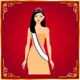Capelli lunghi delle belle donne con progettazione arancio del vestito Fotografia Stock