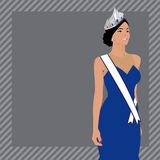 Capelli lunghi delle belle donne con progettazione blu del vestito Fotografia Stock