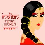 Capelli lunghi delle belle donne indiane con progettazione rossa di vettore di colore del vestito Immagini Stock Libere da Diritti