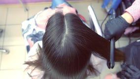 Capelli marroni scuri degli straights del parrucchiere di bella donna che utilizza le tenaglie dei capelli nel salone di bellezza archivi video