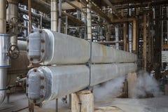 Capelli Pin Cooler Exchanger nell'unità trattata della raffineria fotografia stock