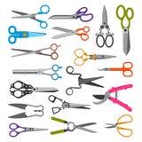 Capelli professionali stabiliti di taglio del paio di forbici di vettore di forbici o scissoring con la taglierina e la prugna di Fotografia Stock Libera da Diritti