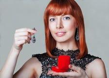 Capelli rossi Ritratto della donna di modo Immagine Stock Libera da Diritti