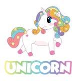 Capelli variopinti dell'unicorno dell'arcobaleno con le stelle che guardano alla parte posteriore con i piedi rosa royalty illustrazione gratis