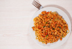 Capellini pasta with tomato and meat sauce Stock Photos