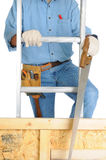 Capenter Climbing Ladder Stock Photo