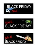 Capenter Tools on Three Black Friday Banners Royalty Free Stock Photo