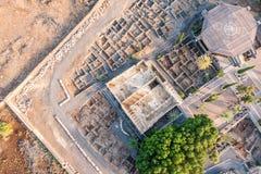Capernaum,内盖夫加利利,以色列鸟瞰图  免版税库存照片