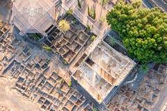 Capernaum,内盖夫加利利,以色列鸟瞰图  免版税库存图片