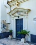 CAPERNAUM, ISRAEL, March 31 2018: Blue door to The Greek Orthodox Church Of The Twelve Apostles In Capernaum, Israel. stock photo