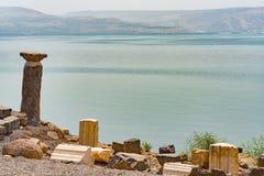 Capernaum sur la côte du lac de la Galilée image stock
