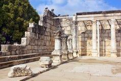 Capernaum synagoga på havet av Galilee, Israel Royaltyfri Bild