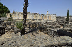 Capernaum white synagogue Royalty Free Stock Photo
