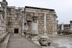 capernaumen återstår synagogan Arkivbild