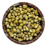 Capers in Bowl Top View Isolated Royalty Free Stock Photography