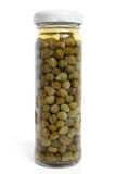 Capers canned in glass jar Royalty Free Stock Photo