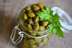 Capers in a jar. Royalty Free Stock Photography