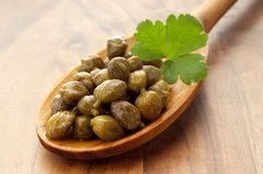 Capers over  spoon Stock Images
