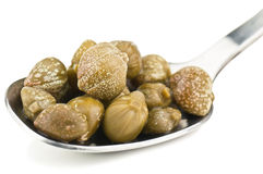 Capers in silver spoon Stock Images